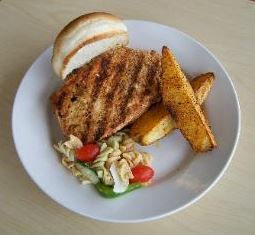 Pork Chop Sandwich Meal  Potato Wedges  Pasta Salad